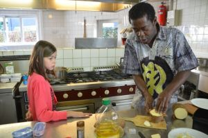 Cooking with students in Londerzeel